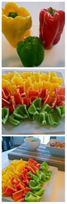 Bell Pepper Dipping Scoop Chips.  Use them to scoop up your favorite dips. Way healthier than chips!