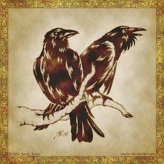 Hugin and Munin by ~aautio Hugin and Munin - the Ravens of Odin