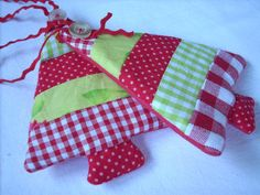Fabric Christmas ornaments Set of 2 red white by HandmadebyMGB, $8.00
