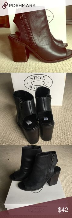 Steve Madden peep toe boots Black Steve Madden boots. Worn only once but heel is too high for me. New with box. Steve Madden Shoes Ankle Boots & Booties