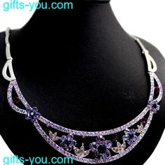 Light Amethyst Violet Crystal Flower with Earring Gift Box Necklace Set NS2327B