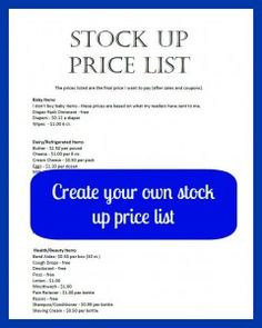 Create a stock up price list - a must if you want to save money on groceries.
