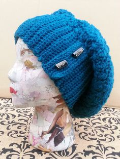 Teal Crochet Slouchy Hat, Oversized Slouch Hat, Blue Hand Crochet Hat,Oversized Winter Hat,Whimsical Hat,Flowered Buttons,Crochet Slouch Hat