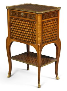 c1770 A Transitional gilt-bronze mounted tulipwood and amaranth cube parquetry table à écrire by Roger Vandercruse, dit Lacroix, circa 1770  Estimate     15,000 — 20,000  GBP 19,325 - 25,766USD LOT SOLD. 15,000 GBP (19,325 USD) (Hammer Price with Buyer's Premium)