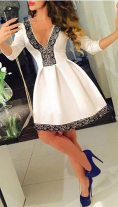 Fun and Flirty Midi Dress! Sexy Black and White Plunging Neck 3/4 Sleeve Lace Spliced Pleated Mini Party Dress For Women #Fun #Flirty #Black #White #Cocktail #Dress #Fashion