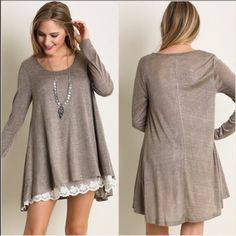 ❗️LAST ONE❗️Mocha with lace tunic or mini dress AMAZING! Sold out everywhere online. This gorgeous flowy lightweight tunic or mini dress is so elegant with its creamy Ivory lace underlay. This is my last one in this color. Price is absolutely firm as these retail for a lot more than I am selling them for. Size large fits 10-12. These are perfectly flowy and stunning. ✅Mega fast shipping ✅5-Star Seller ✅FreeFash with purchase ValMarie Boutique Tops Tunics