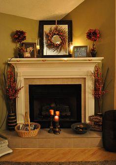 Fall Fireplace decorating ideas.  DSC_0013b