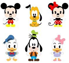 Krafty Nook: Kawaii Mouse and Friends Kawaii Disney, Cute Disney, Baby Disney, Disney Art, Disney Images, Disney Crafts, Mickey Mouse Parties, Mickey Mouse Stickers, Mickey Mouse And Friends