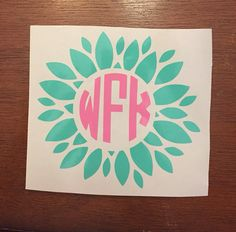 Flower with monogram decal