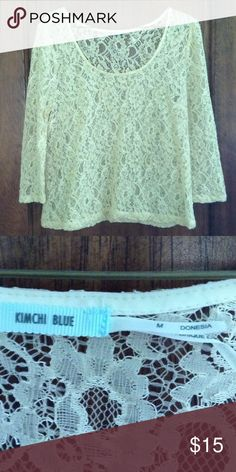 Kimchi Blue lace top from Urban Outfitters Cream colored lace top with long sleeves size medium that is true to size. Works great over a cami. Great condition. No stains, rips or tears. Smoke free Urban Outfitters Tops Tees - Long Sleeve