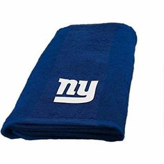 NFL Giants Hand Towel 26 X 15 Football Themed Applique Sports Patterned Team Logo Fan Merchandise Athletic Spirit Blue Grey Red White Polyester