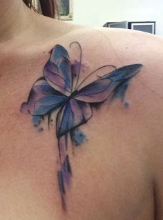 The trend of watercolor tattoos has gained substantial popularity over last few years. The major distinction between such tattoos ideas will be the vibrant look and a unique style. There is a huge diversity among different watercolor tattoos designs. Watercolor Butterfly Tattoo, Butterfly Tattoo Cover Up, Butterfly Tattoo Meaning, Butterfly Tattoo On Shoulder, Butterfly Tattoos For Women, Butterfly Tattoo Designs, Shoulder Tattoo, Watercolor Tattoos, Hand Tattoos
