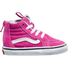 Help your little girl cheat a little when it comes to learning how to put on her shoes by herself with the Vans Toddler Girls' SK8-Hi Zip Skate Shoe. It has a zippered heel entry so she can slide her foot in with ease. Vulcanized construction keeps it flexible for comfort, and the padded collar provides ankle support.