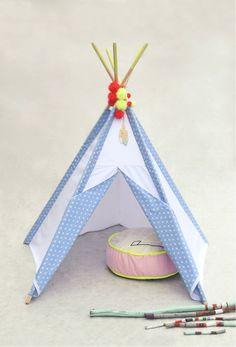 LittleNOMAD's white+blue stars teepee available here: littlenomad.pakamera.pl, direct order: hellolittlenomad@gmail.com #handmade #design #kidsroom #playtent #tipi #teepee #wigwam