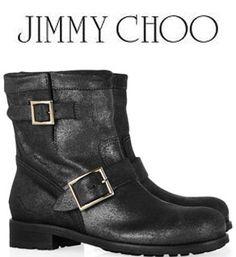 Jimmy Choo Youth Biker boots - shadow rugged leather - smoke