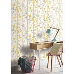 Find Arthouse Woodland Grey & Yellow Wallpaper at Homebase. Visit your local store for the widest range of paint & decorating products. Feature Wallpaper, Wall Wallpaper, Grey Wallpaper Hallway, Living Room Wallpaper, Cottage Wallpaper, Interior Wallpaper, Kitchen Wallpaper, Wallpaper Panels, Yellow Grey Wallpaper