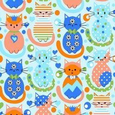 Tricoline Gatos Azul M2296-2 * 50cm x 1,50m Tecido Tricoline Estampado 100% Algodão
