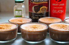 Sugar free gelatin dessert. Great lakes gelatin, coconut flakes, coconut cream, carob, stevia. Jello Cups.