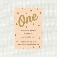 Peach and Gold 1st Invitation for girls party with glitter confetti, also for 2nd, 3rd, 4th, 5th birthday, printable