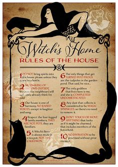 Hey, I found this really awesome Etsy listing at https://www.etsy.com/listing/480774179/witchs-home-rules-of-the-house-a4-art
