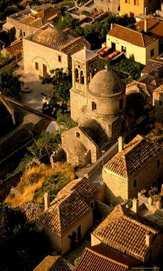 ~Town View from Cliffs, Monemvasia, Lakonia, Greece~ (by Walter Bibikow)