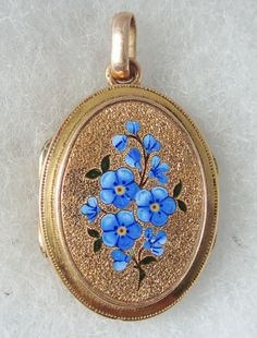 French 14k & Enamel Forget-Me-Nots Antique Victorian Locket Pendant #Locket
