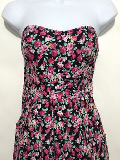 Pins Needles Urban Outfitters Strapless Black Floral Dress Sundress Size Small | eBay