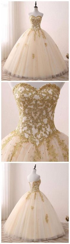 Prom Dress Princess, champagne sweetheart neck tulle lace long prom gown, sweet 16 dress Shop ball gown prom dresses and gowns and become a princess on prom night. prom ball gowns in every size, from juniors to plus size. Gold Prom Dresses, Long Prom Gowns, Quinceanera Dresses, Evening Dresses, Wedding Dresses, Dress Prom, Tulle Wedding, Lace Prom Gown, Party Dress