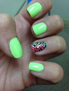 Lime green with multicolor leopard print on ring finger