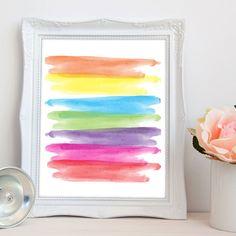 Rainbow abstract printable art watercolor rainbow by luxeprairie