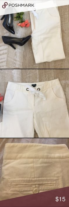 "J.crew Linen drawstring pants Wide leg, city fit draw string white linen pant. Inseam 30"" J.Crew Factory Pants Boot Cut & Flare"