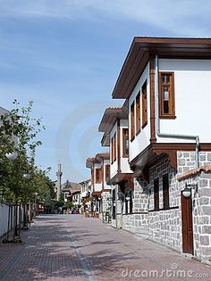 A view of a street with traditional Turkish houses in Ankara, Turkey.
