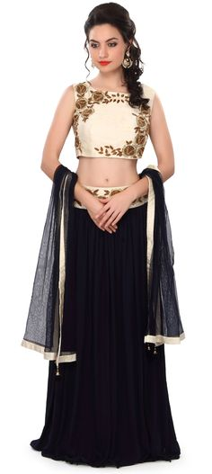 Buy Online from the link below. We ship worldwide (Free Shipping over US$100) Price - $309.00 Click Anywhere to Tag http://www.kalkifashion.com/navy-blue-lehenga-embellished-in-zardosi-and-sequin-embroidery-only-on-kalki.html