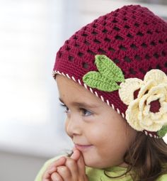 Baby and Girls Flower Crochet Hat Burgundy Color Size Range 4 months - 12 months old Heart to Heart. $6.99. Save 56% Off!