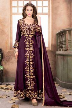 Wine Faux Georgette Anarkali Suit With Dupatta - DMV15328