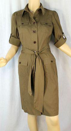 Diane Von Furstenberg 4 Shirt Dress Cotton Blend Olive Green Vastago  #DVF #ShirtDress #WeartoWork