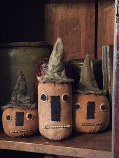 A personal favorite from my Etsy shop https://www.etsy.com/listing/241968969/set-of-3-very-primitive-pumpkins