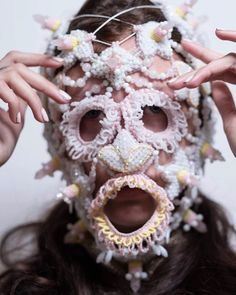 Couture spiked mask - available - link in my bio Photo Makeup Model Place Mask Style . Head Accessories, Costume Accessories, Fashion Accessories, Festival Costumes, Festival Outfits, Fashion Mask, Fashion Room, Couture Embroidery, Masks Art