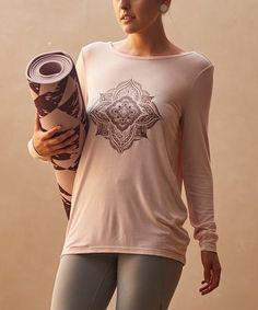 d909a457a8d1f Gaiam Peach Whip Tonal Mandala Cutout-Back Hailey Tee - Women | zulily  Workout Clothing