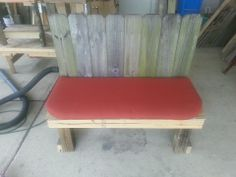 """Patio Bench made from recycled fence boards. It measures 42"""" L x 18"""" W x 39"""" H and the seat is 18"""" from the ground. Naked it sells for $50, painted and or stained it's $55. The seat cushion DOES NOT come with the bench, but Lowes and Walmart both sell the right size.  Item #162"""
