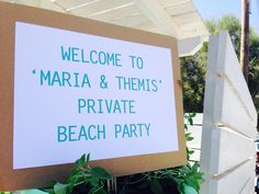 Welcome board!pre wedding beach party