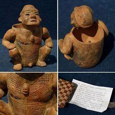 """Kleine Tonfigur aus Peru. Das Objekt stammt vermutlich aus der Region """"Valle del Cauca und dürfte mehr als 1.000 Jahre alt sein!   www.Raritaeten-Shop.com"""