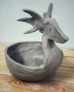Christmas bowl. Ceramics bowl. Reindeer bowl. Clay reindeer.