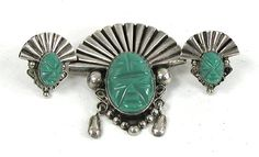 Vintage Mexican sterling silver green onyx mask pin and earrings set