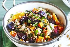 Quinoa salad with beetroot, pumpkin & persian feta. This delicious quinoa salad with beetroot, pumpkin & Persian feta is packed full of healthy goodness. Pumpkin And Beetroot Salad, Pumpkin Salad, Vegetarian Recipes, Cooking Recipes, Healthy Recipes, Yummy Recipes, Savoury Recipes, Healthy Dishes, Recipes