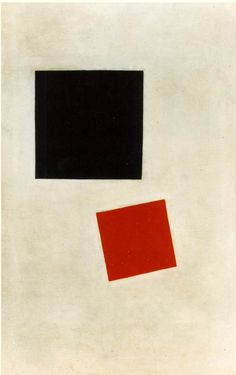 """Kazimir Malevich, """"Black Square and Red Square,"""" 1915, oil on canvas, 28"""" x 17.5""""."""