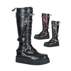 Platform Veggie Creeper Knee Boot Changeable Straps V-CREEPER-588