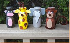 Turn #recycled yogurt bottles into cute zoo animals with only a few simple materials.