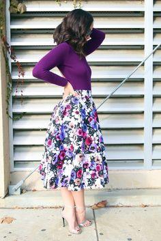 purple, multi, full, floral, midi, skirt