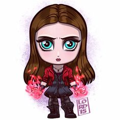 Scarlet Witch: Avengers Age of Ultron by Lord Mesa 2015 Marvel Avengers, Chibi Marvel, Marvel Heroes, Chibi Manga, Chibi Bts, Marvel Cartoons, Marvel Dc Comics, Scarlet Witch, Chibi Tutorial